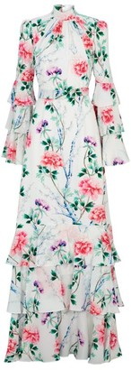 Andrew Gn Belted Floral Silk Dress