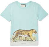Gucci Slim-Fit Distressed Printed Cotton-Jersey T-Shirt