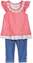 Nannette 2-Pc. Layered-Look Lace Tunic & Capri Leggings Set, Baby Girls (0-24 months)