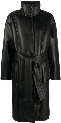 Stand Studio Krista belted faux-leather coat