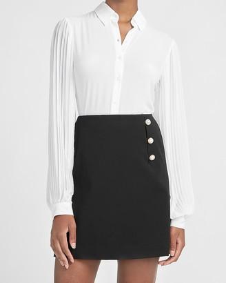 Express High Waisted Novelty Button A-Line Mini Skirt