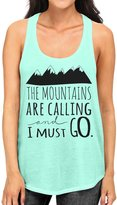 Interstate Apparel Inc Junior's The Mountains Are Calling And I Must Go B574 Green Racerback Tank Top
