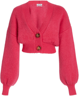 ATTICO Balloon-Sleeve Mohair-Blend Cropped Cardigan