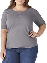 Dickies Plus Womens Henley Neck Elbow Sleeve Henley Shirt