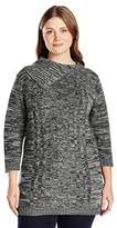 Jason Maxwell Women's Plus Size 3/4 Sleeve Boat Neck Side Slit Pullover Tunic Sweater