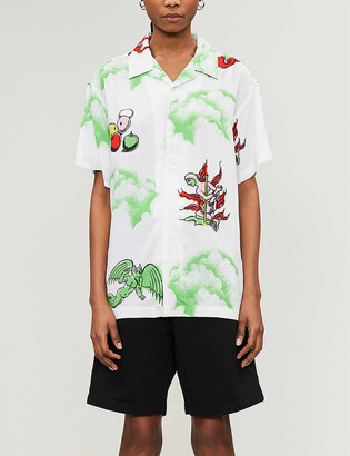 Obey Graphic-print short-sleeved woven shirt