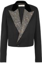 Saint Laurent Embellished Velvet-trimmed Wool Grain De Poudre Blazer - Black