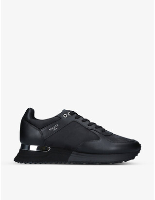 Mallet Lux Runner Midnight leather and fabric trainers