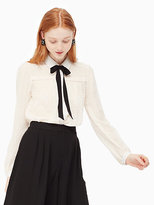Kate Spade Clipped chiffon bow blouse