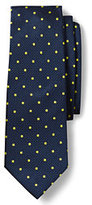Lands' End Men's Silk Texture Churchill Dot Necktie-Blue Wave Grid