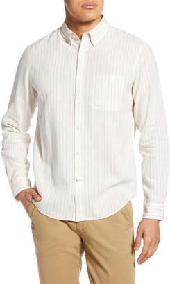Club Monaco Slim Fit Stripe Linen Button-Down Shirt
