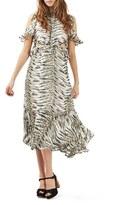 Topshop Women's Print Ruffle Open Back Dress