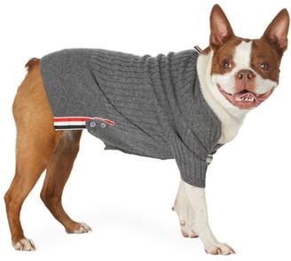 Thom Browne Grey Cashmere Rib Knit 4-Bar Dog Cardigan