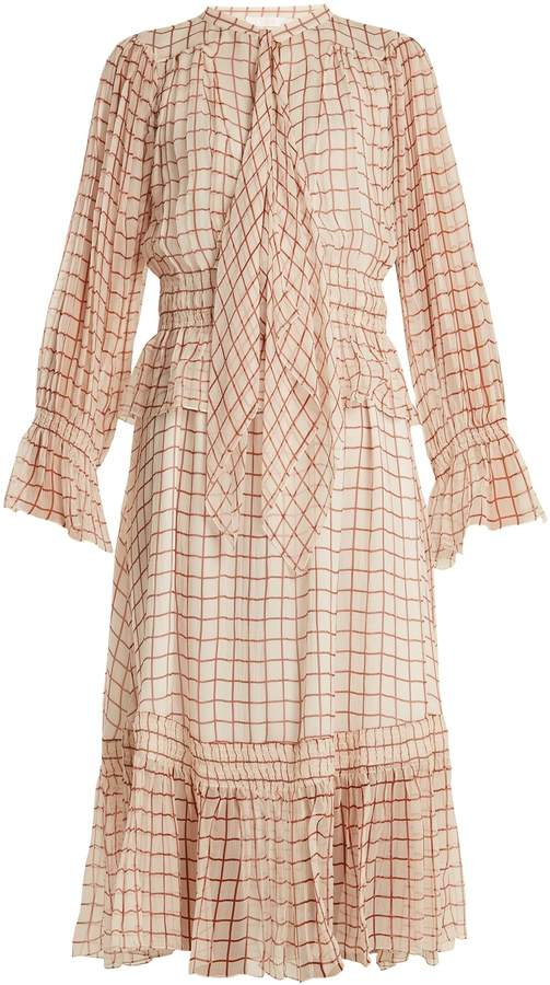 Chloé Grid-print silk-georgette midi dress