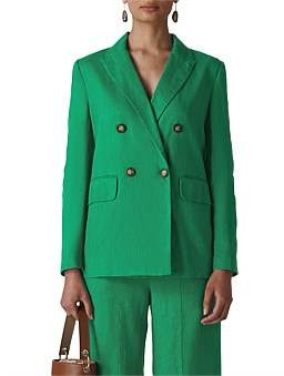 Whistles Linen Double Breasted Blazer