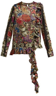 By Walid Floral-print Ruffle-trim Silk Blouse - Black Print
