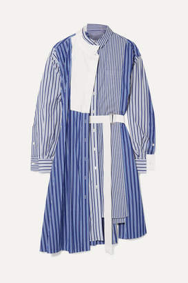 Sacai Asymmetric Striped Cotton-poplin And Pique Dress - Blue