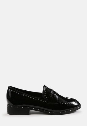 Missguided Studded Patent Loafers