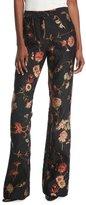 Prabal Gurung Mid-Rise Floral-Jacquard Bootcut-Leg Pants