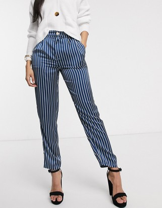 In The Style x Laura Jade satin stripe pant in blue