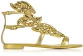 Giuseppe Zanotti Mekong Gold Leather Flat Sandal w/Strass