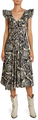 Etoile Isabel Marant Coraline Abstract Paisley Print Crepe Flutter-Sleeve Dress