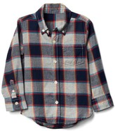 Gap Box plaid button-down flannel shirt
