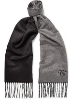 Canali Fringed Two-Tone Silk and Cashmere-Blend Scarf