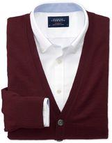 Charles Tyrwhitt Wine Merino Wool Cardigan Size XS