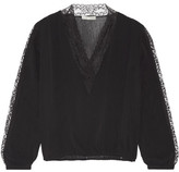 Alice + Olivia Kaitlyn Lace-trimmed Stretch-chiffon Blouse - Black