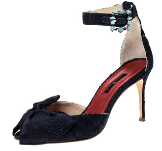 Carolina Herrera Lace And Satin Bow Ankle Strap Sandals Size 38