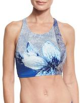 Carmen Marc Valvo High-Neck Floral-Print Bikini Top, Blue