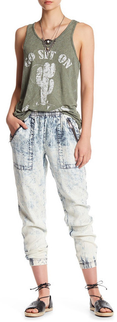 Vintage Havana Faded Wash Elasticized Hem Zip Pants