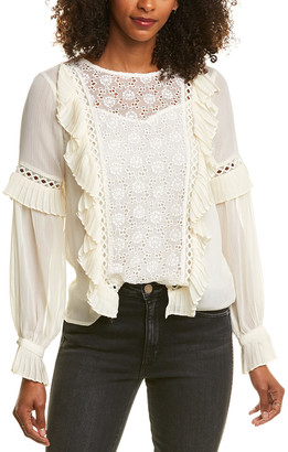 Champagne & Strawberry Pleated Ruffle Top