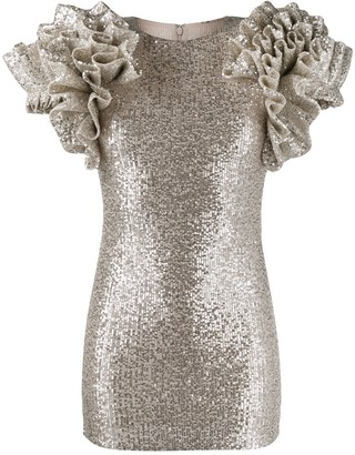 Loulou Ruffle Sleeve Sequin Dress