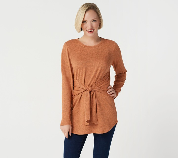 Denim & Co. Studio by Petite Brushed Heathered Tie Front Tunic