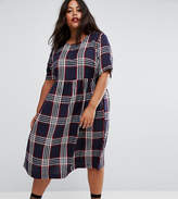 Asos Midi Smock Dress In Check With Short Sleeve