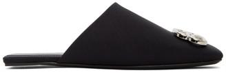 Balenciaga Black Satin Square BB Mules