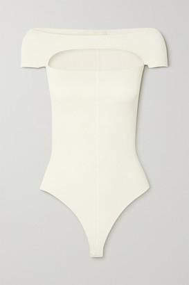 KHAITE Talie Cutout Ribbed Stretch-knit Bodysuit - Ivory