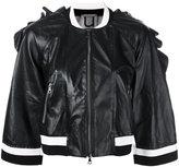 Aviu ruffle trim cropped jacket - women - Leather/Viscose/Metallized Polyester/Spandex/Elastane - S