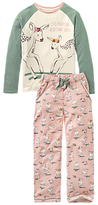 Fat Face Children's Oh Deer Jersey Pyjamas, Pink/Green