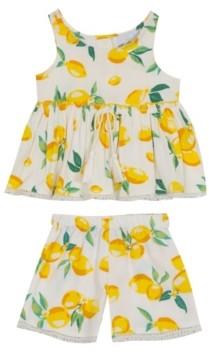 Rare Editions Toddler Girls Lemon Printed Woven Ruffle Top with Shorts Set