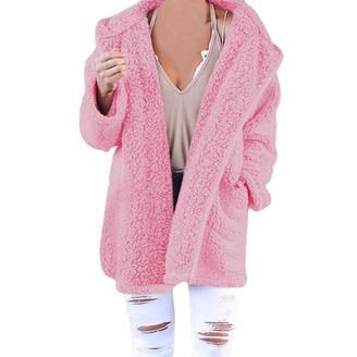 Yonlanclot Womens Soft Hooded Cardigan Lapel Turn-Down Collar Teddy Jumper Hoody Jacket Coat with Pocket Overcoat Warm Winte Outerwear PinkPKM