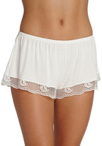 Eberjey Noor Lounge Shorts with Lace Trim, Ivory
