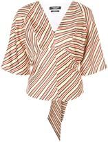 Calvin Klein striped back tie blouse