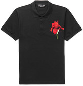 Alexander McQueen Embroidered Cotton-piqué Polo Shirt - Black