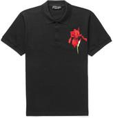 Alexander McQueen Embroidered Cotton-Piqué Polo Shirt