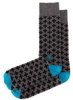 Jonathan Adler Cross-Print Knit Socks, Charcoal/Black