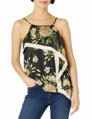 BCBGMAXAZRIA Women's Sleeveless Floral Ruffle Top
