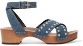 Saint Laurent Studded Denim Sandals - Mid denim
